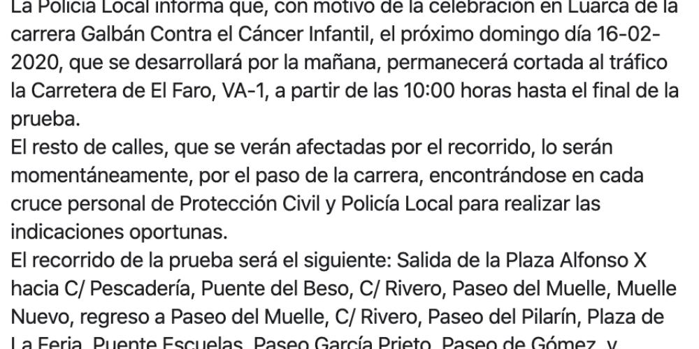 Aviso Policia Local 'Cortes por la Carrera Galban'