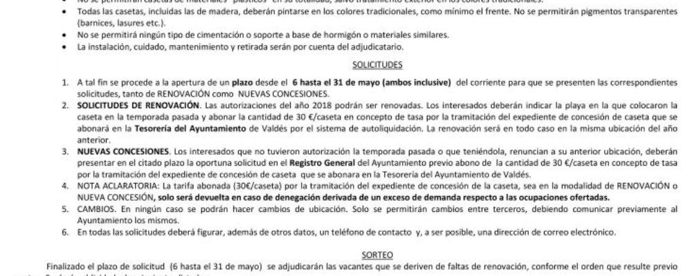 Abierto el plazo de solicitud de casetas en las playas de Luarca