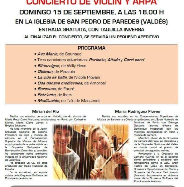Concierto de violín y arpa en San Pedro de Paredes
