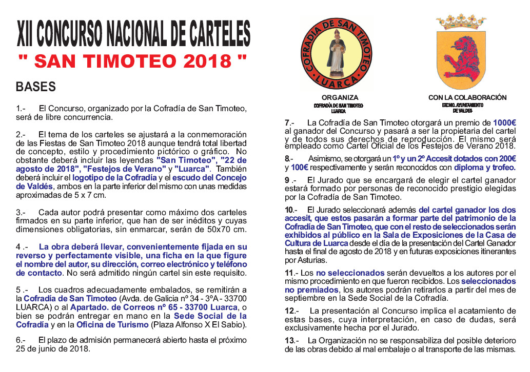 Concurso de carteles de San Timoteo 2018 - LuarcaAsturias.com